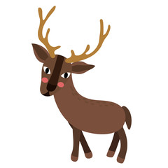 Standing Reindeer animal cartoon character. Isolated on white background. Vector illustration.