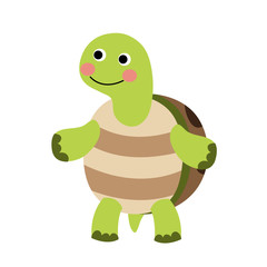 Turtle standing on two legs animal cartoon character. Isolated on white background. Vector illustration.