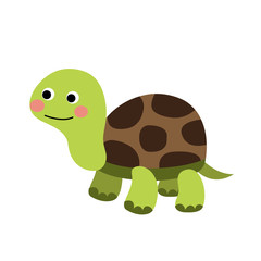 Turtle animal cartoon character. Isolated on white background. Vector illustration.