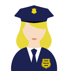Police Woman Flat Vector Isolated - Police Officer Uniform Character - Vector Illustration Of a Girl Police - Graphic isolated illustration
