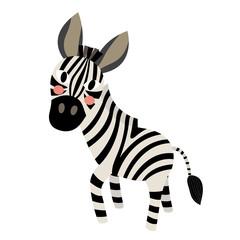 Zebra animal cartoon character. Isolated on white background. Vector illustration.