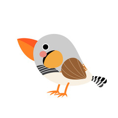 Zebra Finch bird animal cartoon character. Isolated on white background. Vector illustration.