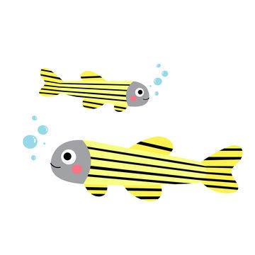 Zebrafish animal cartoon character. Isolated on white background. Vector illustration.