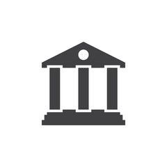 bank icon vector, solid logo, pictogram isolated on white, pixel perfect illustration