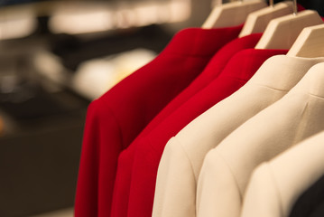 womens cashmere coat on hanger in the store
