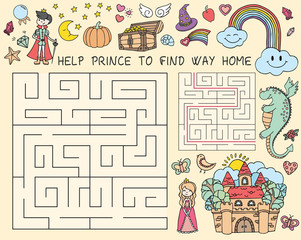 Vector hand drawn doodle illustration of maze with fairy tales characters. Educational game for children