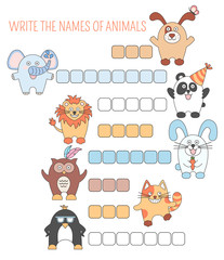 Crossword animals, education game with words for children