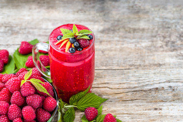 Healthy smoothie from raspberry fruits, cocktail with berries