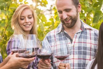 Couple with friends tasting wine in vineyard