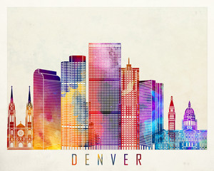 Wall Mural - Denver landmarks watercolor poster