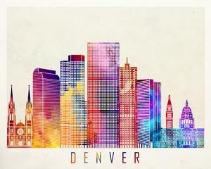 Denver landmarks watercolor poster