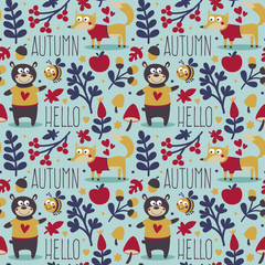 Seamless cute animal autumn pattern made with bear, fox, bee, flower, plant, leaf, berry, heart, friend, floral, nature
