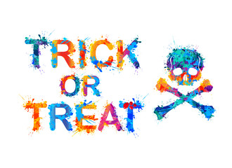 trick or treat. Halloween Inscription