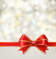 red ribbon bow with gold on blurry holiday background. vector