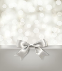silver bow ribbon and light effects blurry background. vector