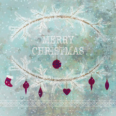 Merry christmas and happy new year greeting card wreath backgrou