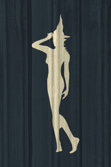 Illustration of standing young witch icon. Witch silhouette. Halloween relative image. Wood texture