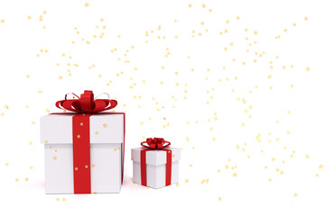 3D rendering of white gift boxes with red ribbon.