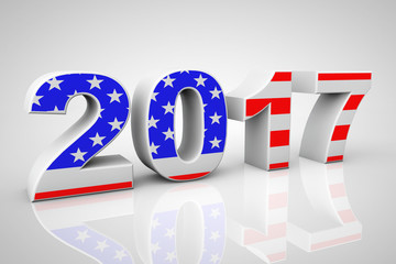 New Year 2017 Sign as USA Flag. 3d Rendering