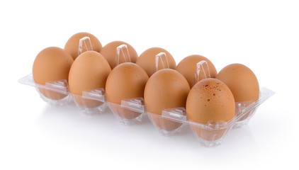 eggs in pack isolated on white background