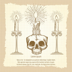Skull and candles on vintage notebook page. Occult design vector illustration