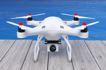 White Quadrocopter drone with Photo Camera in front of Ocean. 3d