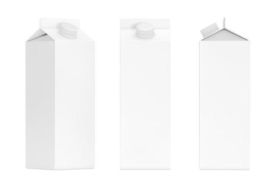 Blank Milk or Juice Carton Boxes. 3d Rendering
