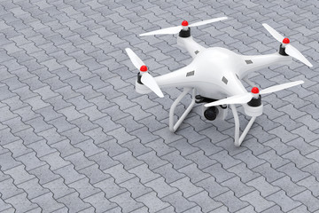 White Quadrocopter Drone with Photo Camera. 3d Rendering