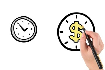 hand drawing clock with dollar sign