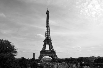 PARIS, FRANCE OCTOBER 14: Black and white Eiffel Tower (Tour Eiffel) on october 14, 2013 in Paris, France. It was built between 1887 and 1889 for the World's Fair (Expo 1889).