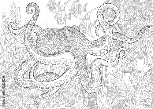 Stylized Composition Of Octopus Poulpe Tropical Fish Underwater Seaweed And Corals
