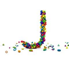 litera j z prostych figur 3D
