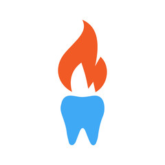 Fire tooth logo and icon vector illustration