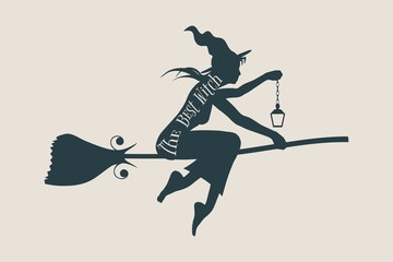Illustration of flying young witch icon. Witch silhouette on a broomstick. Lamp in hand. The best witch text. Halloween relative image.