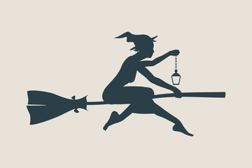 Illustration of flying young witch icon. Witch silhouette on a broomstick. Lamp in hand. Halloween relative image.