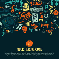 Music festival vector background. Can be used for printable concert promotion with lettering and doodle  items.