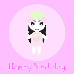 Birthday illustration with cute strawberry girl suitable for birthday card invitation, postcard, and wallpaper