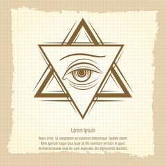 Double triangle and eye vintage style freemasony vector sign