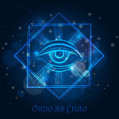 Mystical mason sign with eye on blue shining background. Vector illustration