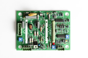 Electronic PCB board on white background
