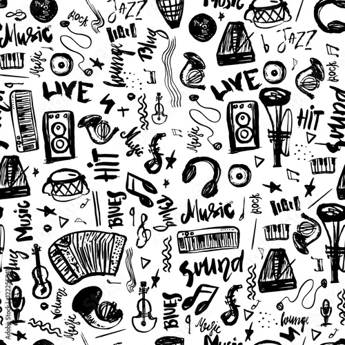 Music Symbols Funny Hand Drawn Seamless Pattern With Elemens And