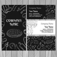 Set of white and black business card with hand drawn ingredients