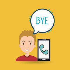 man smartphone bubble telephone vector illustration eps 10
