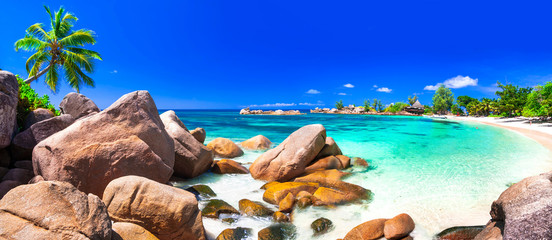 Photo sur Aluminium Bleu fonce most beautiful tropical beaches - Seychelles ,Praslin island