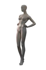 upright female mannequin against white