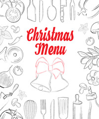 Christas menu front page with hand drawn elements on white backg