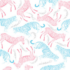 seamless pattern of tiger and zebra on white background with animals inscription