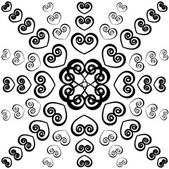 Outline swirly hearts. Seamless valentine pattern.