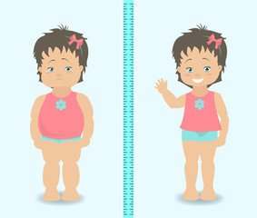 Fat and slim girl, weight loss concept. Vector illustration