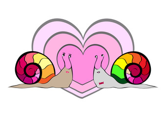 Enthusiastic snails in a love encounter, smiling, sticking their tongues out, staring at each other and intertwining their bodies while taking a vertical position and showing plenty of red hearts